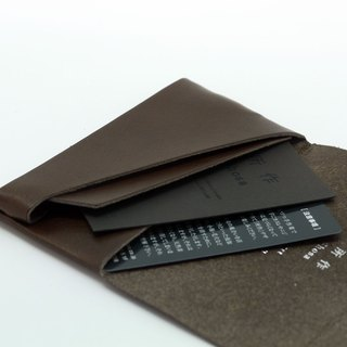 Japanese Handmade - Shosa tanned leather card holder/clips - Basic/Deep brown