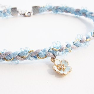Light blue & light gray soft satin rope necklace / choker with blue flower charm.