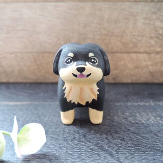 Good greedy small sausage decoration handmade wooden healing small wood carving black brown long hair dachshund dog