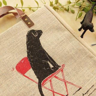 ORGANIC HEMP BAG Hand print with Labrador on red chair