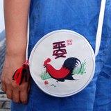 『壹豆號』帆布袋,單帶包,公雞小圓袋