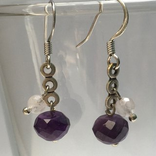 E0285 - own design and manufacture - fashion generous gift of choice - natural stones - amethyst and rose quartz earrings