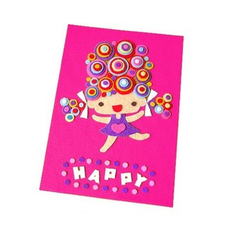 Handmade non-woven card _ happy girl... universal card, birthday card, thank you card