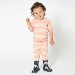 [Nordic design] Swedish organic cotton children's flying squirrel pants _ striped peach powder suitable for 1 ~ 9 years old