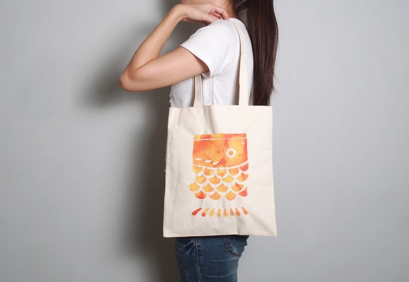Hand-painted handprints Peibu bag [Carp] sided pattern hand / shoulder four colors