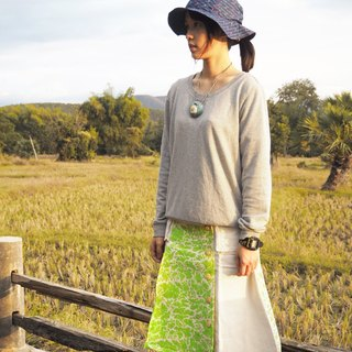 "EARTH.er  │""Leafs Camo""天然植物染長裙 ● Natural ""Leafs Camo"" Swedish Long Skirt│ :: 香港原創設計品牌 ::"