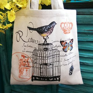 Forest partner - bird butterfly cotton linen cloth bag