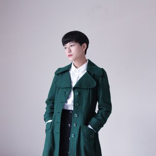 A ROOM MODEL - VINTAGE, CJ-2143 green retro waist woolen long coat with Shimokitazawa