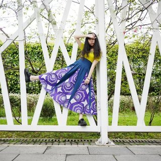 Post Free Shipping! Yang Ga African fabric circle skirts / violet
