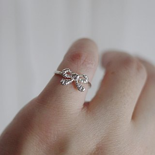 [Jewelry] Jin Xialin ‧ small lace bow Ring - Silver Ring