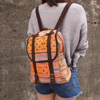 【Grooving the beats】[ Fair Trade] Orange Ethnic Backpack Book Bag Handmade HMONG Vintage Fabric