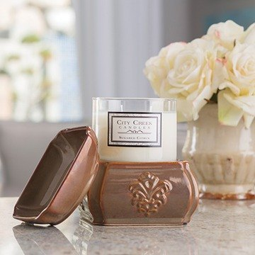 Toffee Damask Candle 2-in-1 Fragrance Warmer