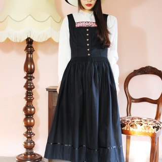 F1154 [Austria made bids] (Vintage) black cotton vest skirt big wave vintage dress (Made in Austria)
