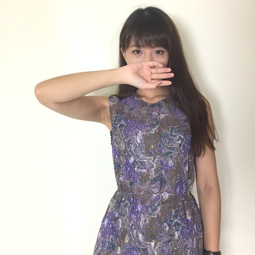 Vintage dress | BD808 | Purple Sea | printing | Chiffon