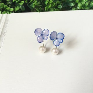 *Haku‧Neko*purple hydrangea Cotton bead earrings ear care (real flowers Series) (buy products)