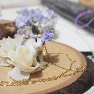 【Animal Party Series】Rabbit and the white Rose Necklace