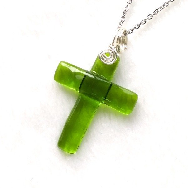 Color glass cross necklace - bright green