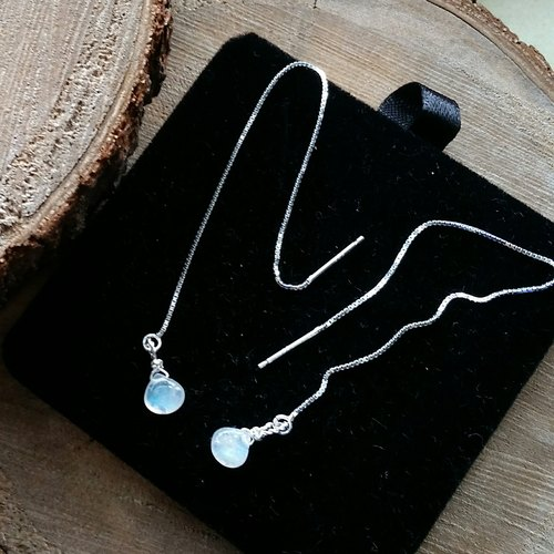 925 silver earring with moonstone-6 / 7mm Super Moon Moon stone 925 sterling silver long ear line
