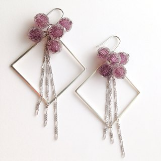 [Order production] earrings / Silver 950 SHIKAKU × freezing bonbon: Purple