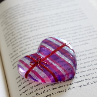 Lavender Pink Art Glass Heart Paper Weight・Romantic Handmade Love Gift