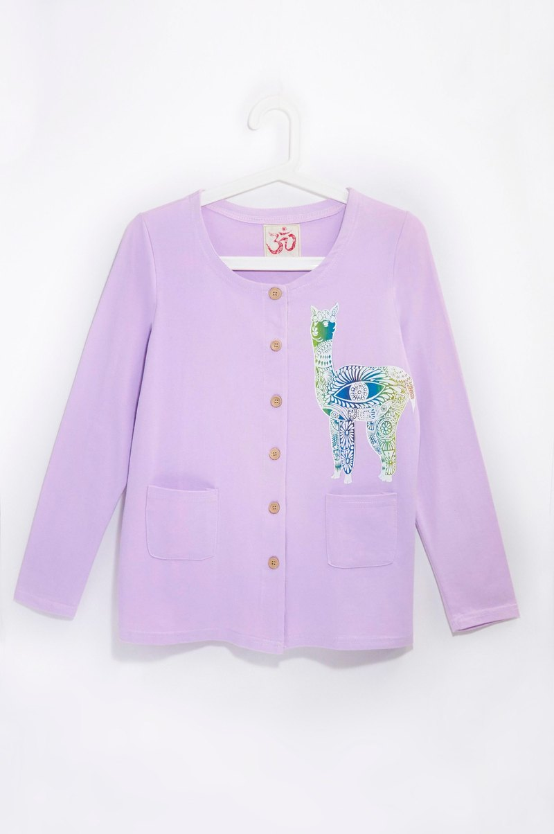 Feel the texture of cotton wood buckle jacket - Peruvian alpaca (fresh purple)
