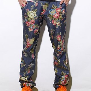 Stone'As floral denim pants / printing tannin jeans trousers