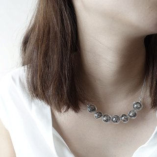 Simple Dots n' Line Glass Bubble Necklace - Deep Grey