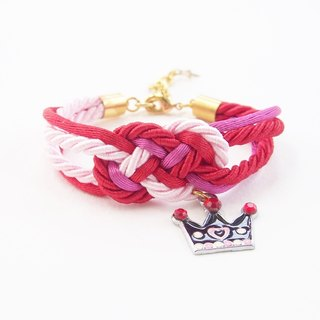 Pink and red nautical bracelet with princess crown charm