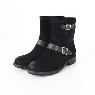 [The Call of the Wild] Scrub Cowhide Leather Boots - Antique Black (No. 24)