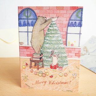 Bear and Pig Christmas card