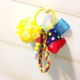 WaWu Lucky Zongzi Deco Keyring (Colorful blue dot fabric)