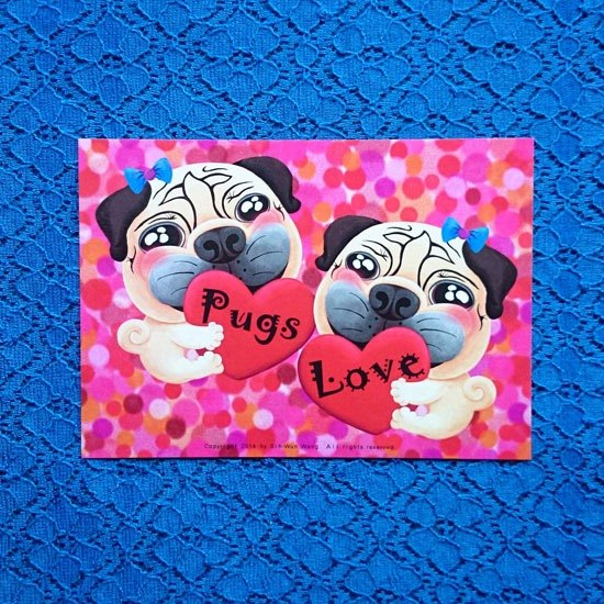 Postcard-My Heart Belongs to Pugs