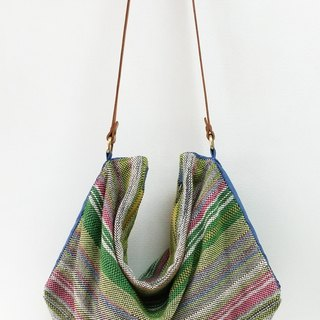 Handwoven Fabric Shoulder Bag - Green series