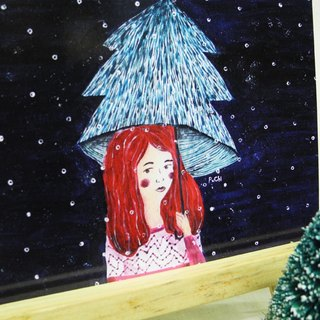 PuChi / Self-portrait / girl / Postcard / Christmas / Christmas