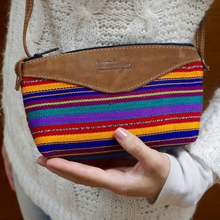 LEATHER & HANDWOVEN COTTON CROSSBODY PURSE