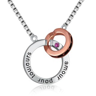 Hong Kong Design 925 sterling silver necklace Platinum Couple (Women) French Forever Love Pink CZ