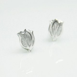 [Wonderland] Tulip 925 Silver Earrings - White Gold