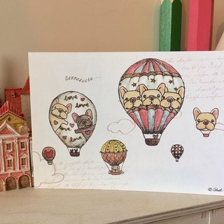 Thick pound postcards - hot air balloon method bucket