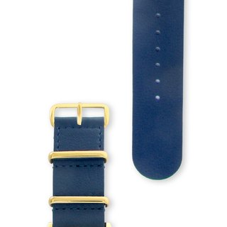 HYPERGRAND Military Leather Strap - 22mm - NAUTICAL BLUE Nautical Blue Leather (Gold Button)