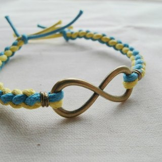 ~ M + Bear ~ Love Unlimited Love Unlimited, 8 wax rope braided bracelet (bronze yellow and blue)