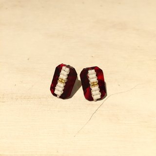 ololssim rectangular red retro ethnic earrings
