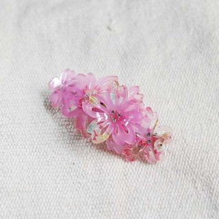 Thousands of cherry blossoms, three-dimensional flowers, automatic clips, hair clips, flat clips - pink