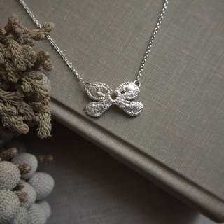 Lace Silver 925 Bow Pendant Necklace, Bridesmaids Gifts, Birthday gift