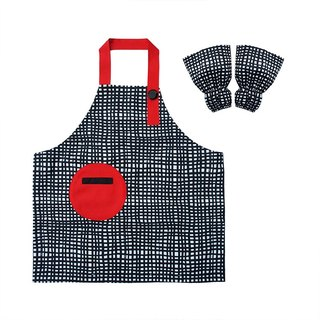 Waterproof toddler apron sleeve set, Art Craft, Painting, Gardening, Plaid Red