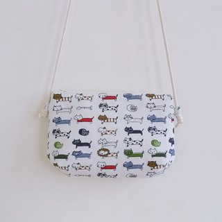 Handmade sewing white kitten with small diagonal shoulder cloth bag