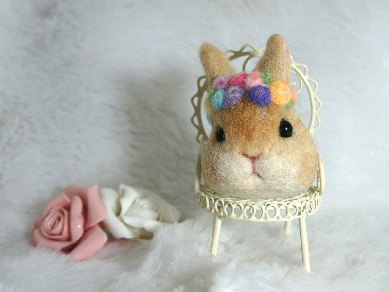 羊毛氈玫瑰花圈兔兔 鑰匙圈 訂製