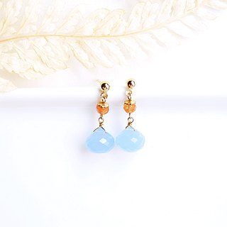Cheng Yueguang natural stone strawberry crystal 14K GF earrings gift natural stone light jewelry warm warm orange tone