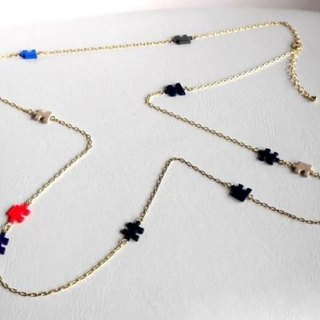 Puzzle 2WAY Navy Long necklace