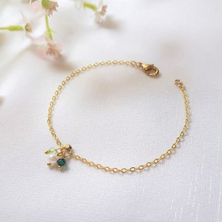 Summer fruit pearl crystal fine brass bracelet (three colors)