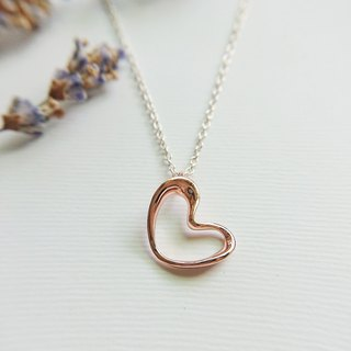 ABOUT LOVE// Throbbing Heart Necklace L006SMR-Small / Rosy Rhodium plated